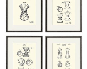 Coffee Chemex Patent Art Print Dining Room Poster Wall Vintage