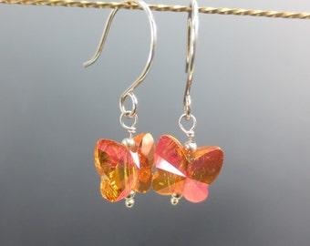 Butterfly Earrings, Orange, Pink Argentium Silver Earrings, Swarovski Crystal Butterfly Jewelry Dangle Earrings, Everyday Earrings (#101)
