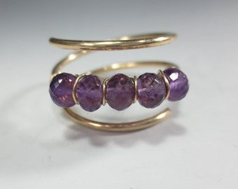 Amethyst Ring, Gold Fill Amethyst Stacking Ring February Birthstone Ring, Amethyst adjustable Ring, Amethyst Jewelry 6th Anniversary (#491)