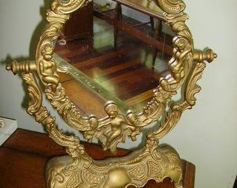 Vintage Cherub Gold Syroco Mirror/Cherubs Vanity Mirror/Gold Cherubs Mirror