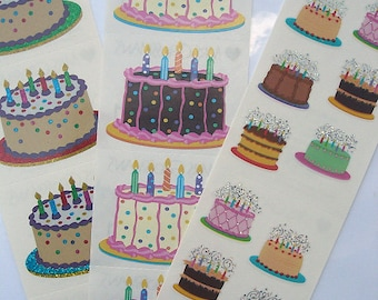 BIRTHDAY CAKE Stickers Huge Lot of Sparkly Birthday Cakes Lot of 3 Full Strips Mrs. Grossman's