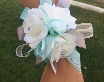 Wrist corsage/ Mint and Gray wrist corsage/ silver and mint Wrist corsage/ Prom wrist Corsage
