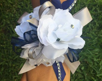 Navy Blue Wrist corsage/ Prom corsage/ Navy blue wrist corsage/ Wrist corsage