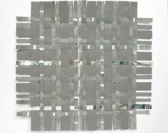 Grey Paper Weaving- Original Woven Paper- Mixed Media- 8x8- Abstract Art