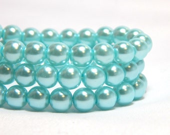 6mm Light Blue Glass Pearls, 6mm Blue Beads, Blue Glass Pearls, Blue Pearls, 6mm Blue Pearls, Baby Blue Pearls, Light Blue Pearls, T-94C