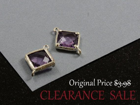 SALE - Tanzanite Purple/ Violet Color Framed Glass Bezel Diamond/ Square Shape Connector 12mm x 17mm in Silver Plating - 2 pcs/ order