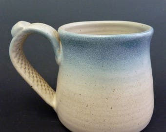 Stoneware Coffee Cup, Ivory White Semi-Matte and Light Blue