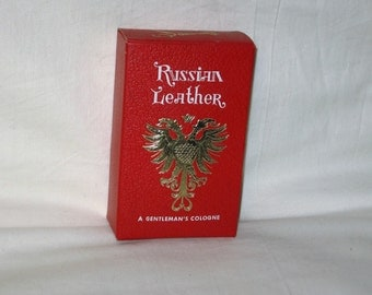 vintage 1970s  russian leather mens cologne 4 fluid ounces new old deadstock