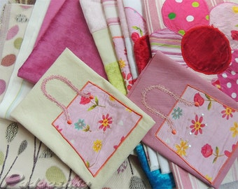Pink fabric bundle Patchwork applique sewing pack Sweet baby girl nursery decor Assortment of cottons  Fabric from Voyage Decoration .