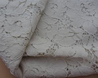 "ecru white Rose lace fabric White wedding Lace / beige 59"" wide white Wedding Lace Fabric,corded rose  lace fabric-LSMW0055"
