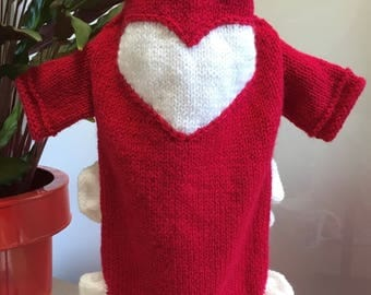 Hand knitted dog sweater /dress with ruffles and heart