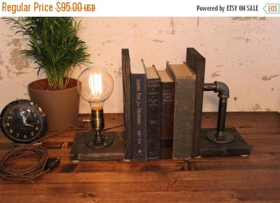 25% OFF SALE Dimming lmap Industrial Lighting - Bookend Lamp - Table Lamp - Edison Light - Vintage Light - Pipe Lamp - Bedside Lamp - Rustic