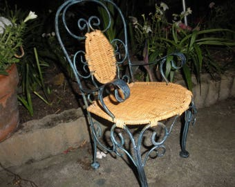 Patio Chair Wicker and Wrought Iron Small