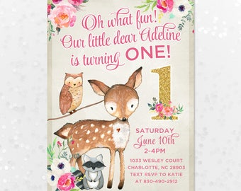 Pink Fawn Deer Birthday Invitation, 5x7 Girls First Birthday Invite, Bright Pink Floral Fox Invite, Our Little Dear, First Birthday, Gold