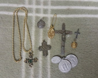 Vintage Lot Religious Charms, Coins, Crosses++.  Nice assortment!
