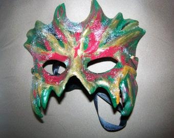 Multicolored Mardi Gras Swamp Creature Half Mask