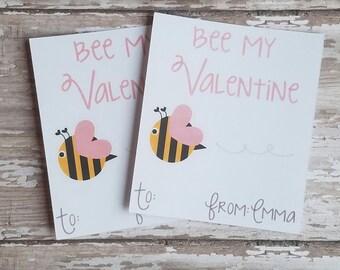 Bee My Valentine, Valentine's Day Card, School Valentine, Valentine's Day Gift, Bumble Bee (V02)