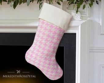 Pink Christmas Stocking, Pink Stocking, Pink Christmas, Girl Christmas Stocking, Girl Stocking, Houndstooth Christmas Stocking