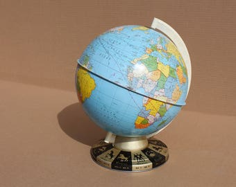 Mid Century Tin World Globe