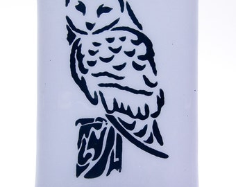 Owl Night Light Screen Printed on Lavender Fused Glass