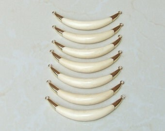 Natural Ox Bone Horn Pendant - White Bone Horn Pendant - White Ox Bone - Double Horn - 18K Gold Plated Caps and Loops - 70mm