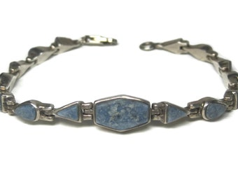 Vintage Denim Lapis Bracelet Native American Sterling Jewelry 6 3/4 Inches