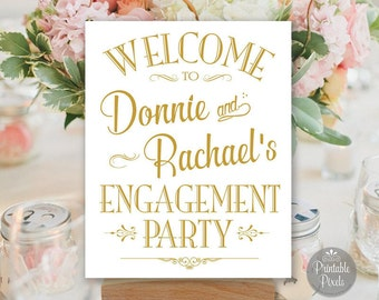 Engagement Party Sign Printable, Gold Matte, Welcome Sign, Personalized with Names (#ENG1G)