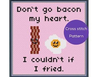 Bacon My Heart Cross Stitch Pattern