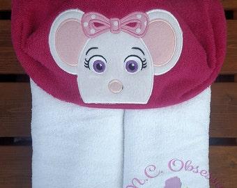 Ballerina Mouse Hooded Towel, Angelina Ballerina Party, Mouse Towel, Pink Mouse Hooded Towel
