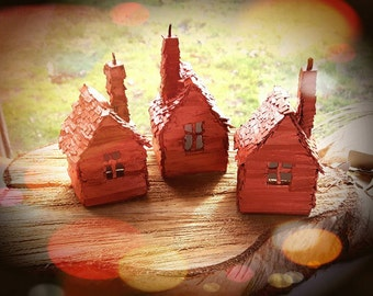 Tiny Copper Houses Set of 3 - Handmade Recycled Cardboard House Model Sculpture Decoration Gift - Copper Painted Miniature Small Houses
