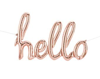 Rose Gold HELLO Script Balloon, Rose Gold Baby Shower, Rose Gold Balloon Banner, Rose Gold Wedding, Rose Gold Birthday Party, Letter Balloon