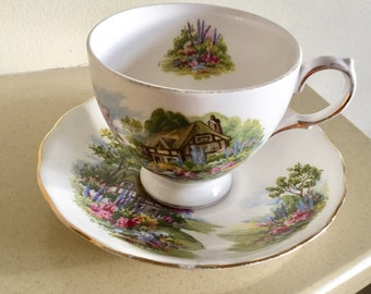 Royal Vale Country Cottage Cup and Saucer