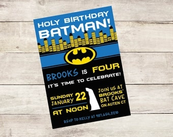 Batman Invitation / Batman/ Printable / DIY Birthday Invitation / Super Hero Invite