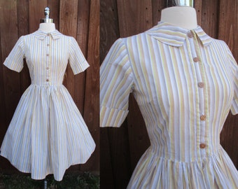 Brown & Yellow Striped Button Down  Day Dress Short Sleeve Full Skirt Rounded Collar Dress Sz XS-S