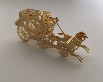 Vintage Gorham Gold Plate 3D Horse and Carriage Christmas Ornament