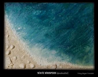 "Encaustic painting  Original Art ""Wave Whispers"" - Multi Media seascape painting on 12x16 canvas board. #Seaside #shells #sand #ocean"
