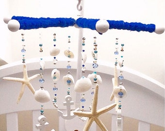 Baby Mobile Anchors Nautical Starfish Shells Blue White Silver Sparkly