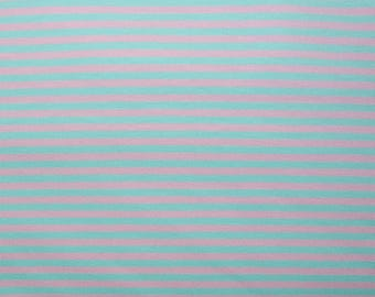 Fabric - Jersey fabric - Mint and pink engineered stripe knit - cotton/elastane