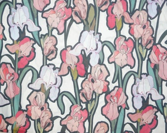 Fabric - Iris print - coral- 100% cotton lawn - woven fabric