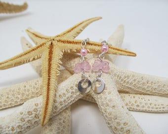 Pink and Silver Boho Dangle Earrings