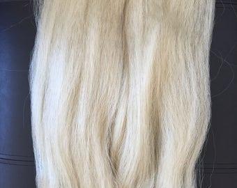 Rubio platino 100 por ciento maraña de pelo del Kanekalon, largo 48 pulgadas de suave y sedoso y resistente al calor pelo para extensiones o trenzas, muñeca Reroots