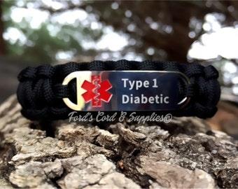 Type 1 Diabetic Medical Alert Bracelet, Paracord Bracelet, Survival Bracelet with Laser Engraved Stainless Steel Tag