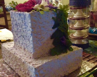 Decorative fake cake ,frosted acrylic paint,light purple in color