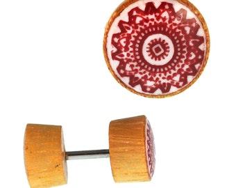 Fake wooden plug piercing resin mandala inlay Jack fruit red stainless steel hand work (OHP-191)