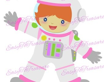 Digital Download Clipart – Girl Astronaut and Outer Space JPEG and PNG files
