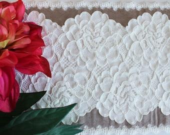 """Stretch lace trim 7"""" / 17.7 cm wide, cream stretch lace, ivory lace trim, scallop lace, narrow stretch lace, floral lace trim, 2 tone lace"""