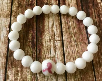 Stability. Relieves Anxiety. Protective.White Jade Gemstone Beaded Bracelet. Simple Breast Cancer Bead. Simple Stretch Bracelet.