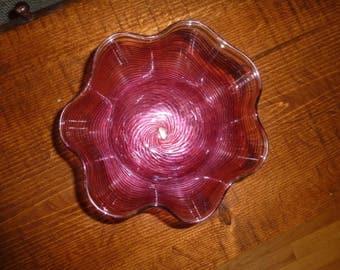 Murano Glass Cranberry Handkerchief Bowl