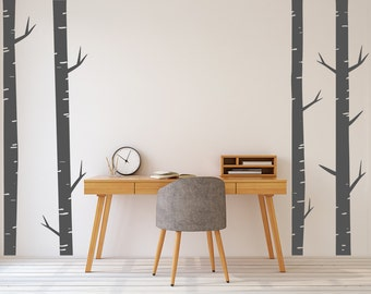 Birch Tree Wall Decals, 4 x 8ft Tall, Wall Art, Forest Decals, Wall Stickers, Nursery Wall, Bedroom, Living Room, Modern, Branches, Trunk
