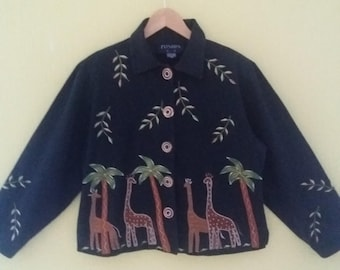 Women's Vintage Black Cotton Button With Animals Long Jacket Medium Size